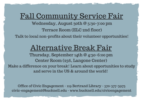 Come to the 2017 Fall Community Service Fair and the Alternative Break Fair!